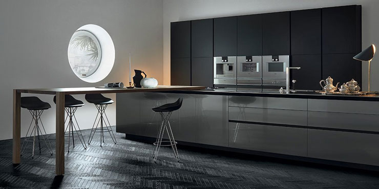 Cocina moderna color negro