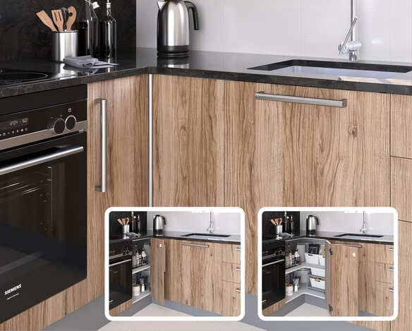 Corner Hinge opening for L-shaped Cabinets